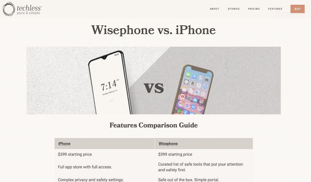 Wisephone vs. iPhone screenshot